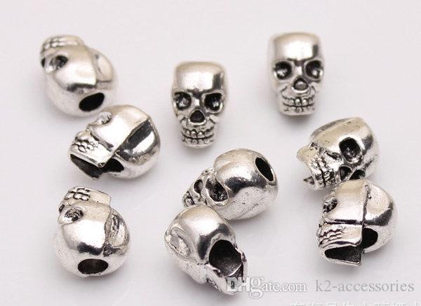 100pcs Antique Silver Alloy Skull Large Hole Bead Fit European Beads Bracelet DIY Jewelry 13x10x8mm