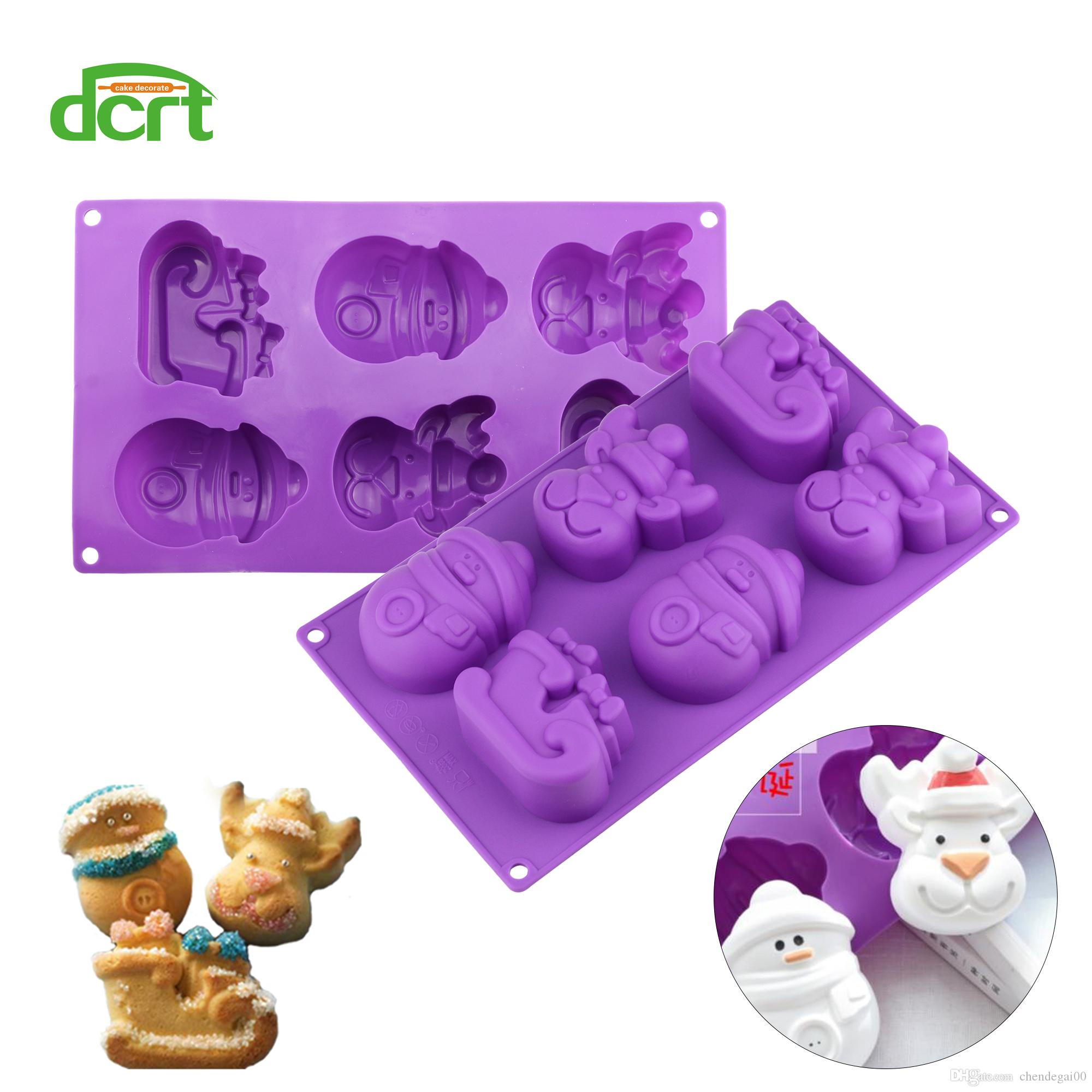 DCRT Elk Snowman Christmas Silicone Mold Deer Sled DIY Pudding Jello Candy Cake Mold Cake Decoration Soap Tools