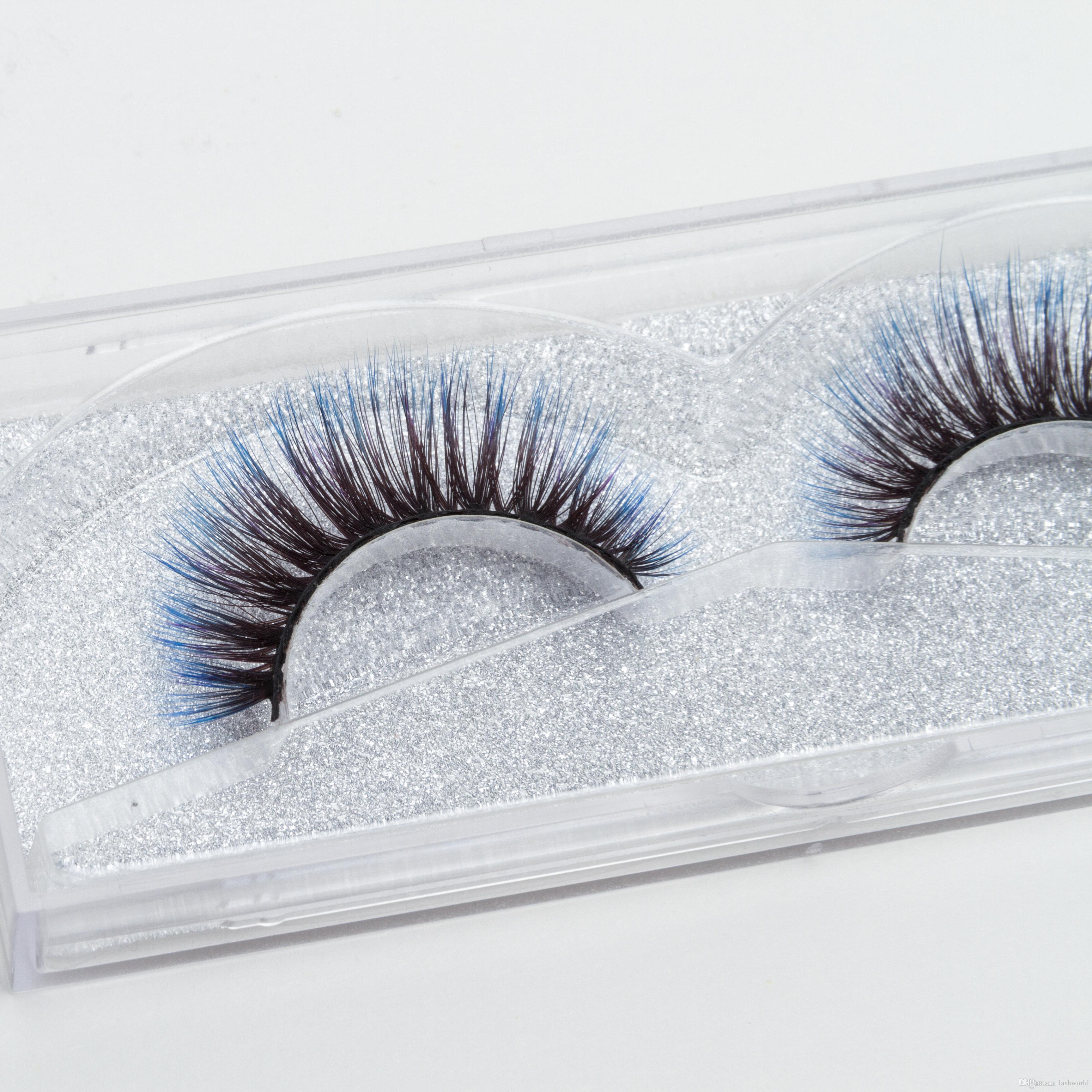 Seashine Excelente venta coreano Venta directa de fábrica de seda sintética 3d Mirada natural azul pestañas coloridas pestañas envío gratis C11