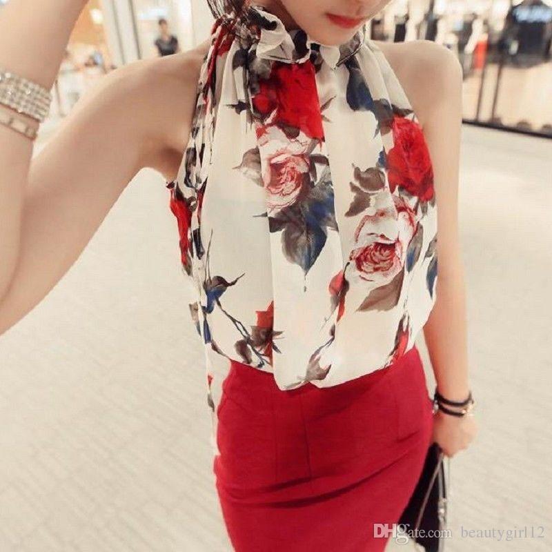Women's Summer Blouses Floral Print Sleeveless Halter Necks Women Tops Loose Female Shirt