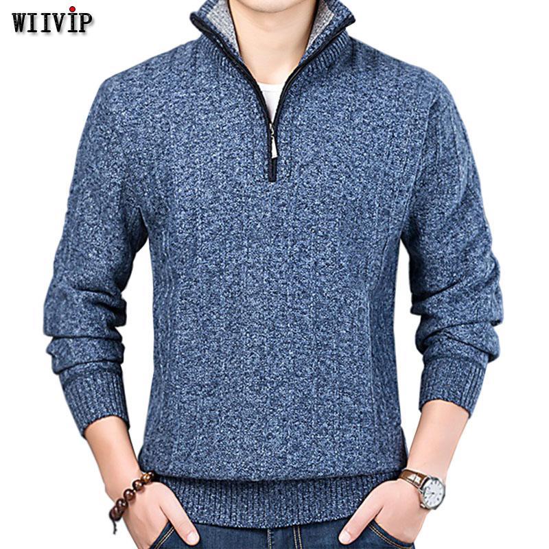 Novos homens da moda roupas de manga longa sólida zipper blusas de malha tartaruga pescoço algodão yw278