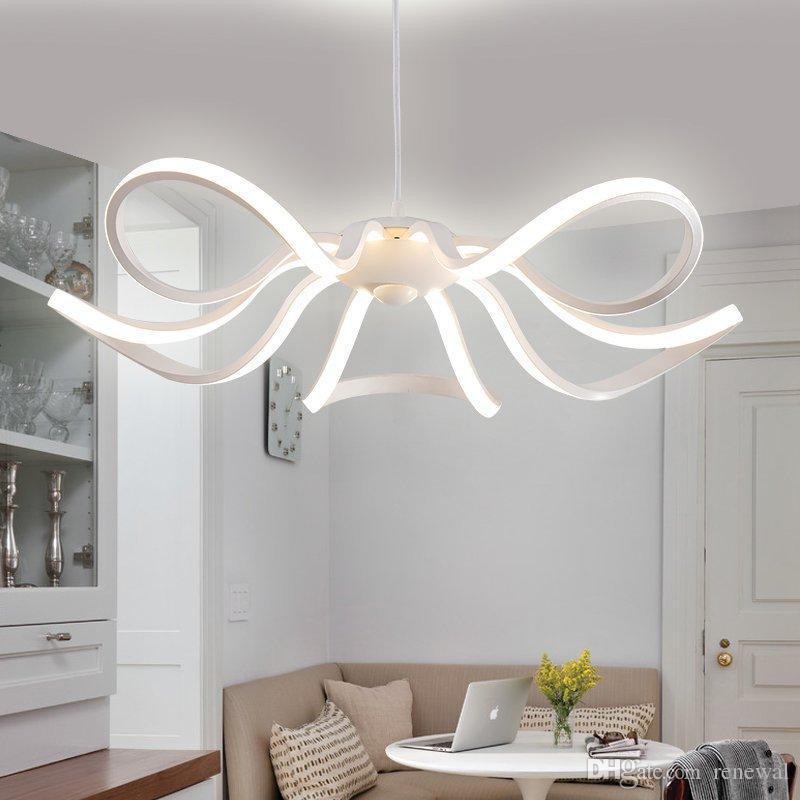 Avize oturma odası lamba basit postmodern LED yemek odası lamba Nordic yaratıcı petal yatak odası lamba ev kolye tavan ışık