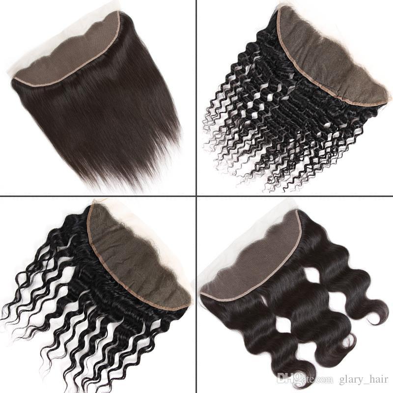 Brasilianisches Jungfrau-Haar 13x4 Spitze Frontal Schließung von Ohr zu Ohr Peruaner Gerade Körper Wasser Tief Versaute Curly Silk Top Lace Frontal