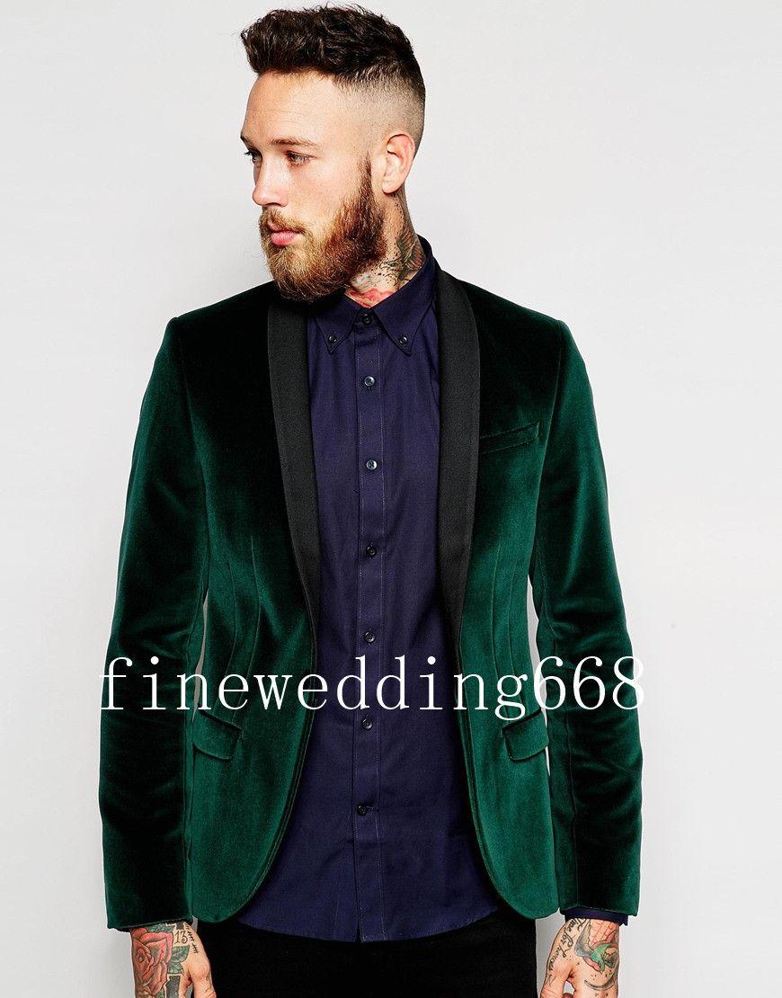 Atacado E Varejo Xale Lapela Verde Escuro Do Noivo Do Casamento Do Noivo Smoking Ternos Dos Homens Casamento Prom Jantar Melhor Homem Blazer (Jacket + Tie + Cinturão + Calças)