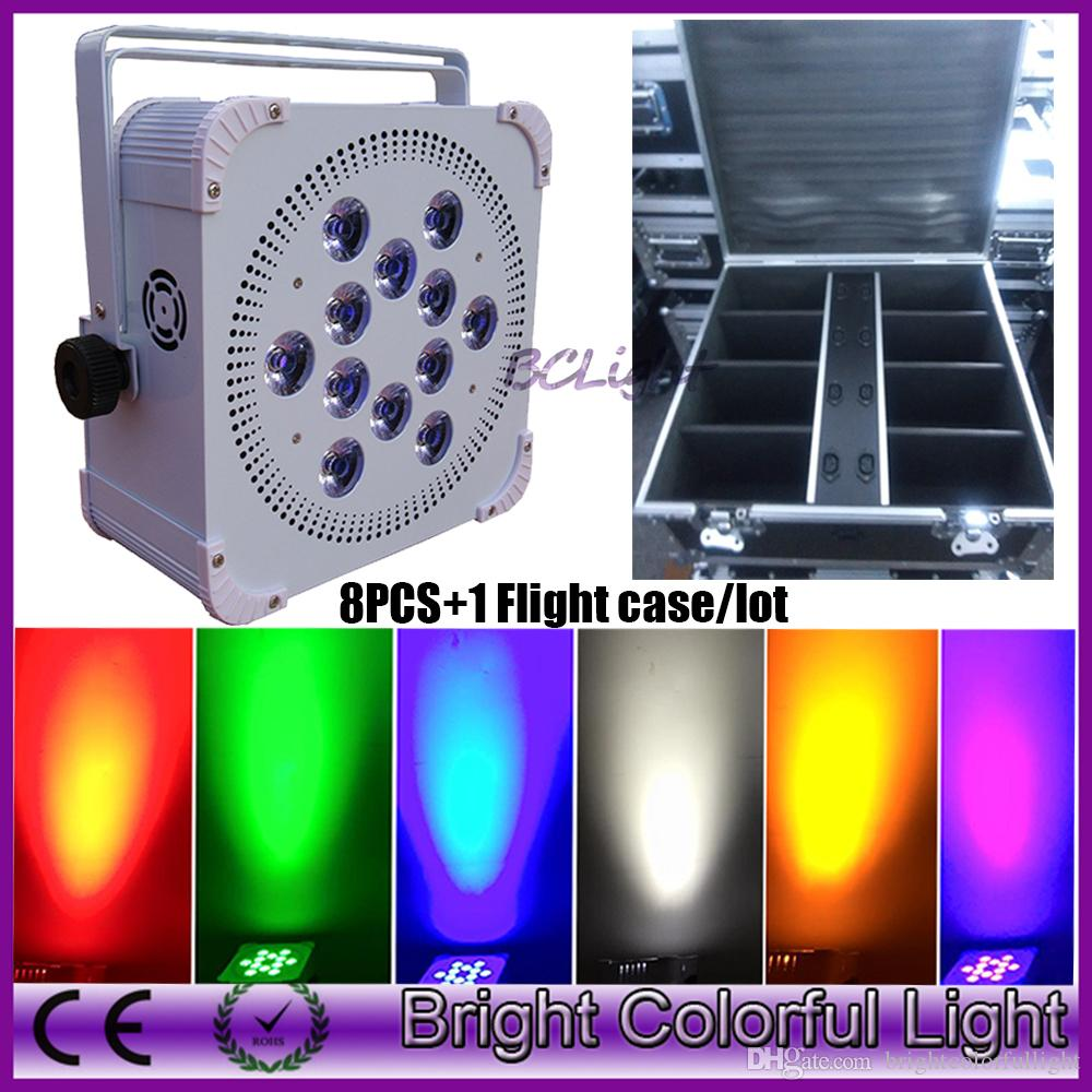 DJ Portable 12x18W 6in1 RGBWA UV battery powered wireless dmx led par light With Long Life Battery 8pcs with flight case