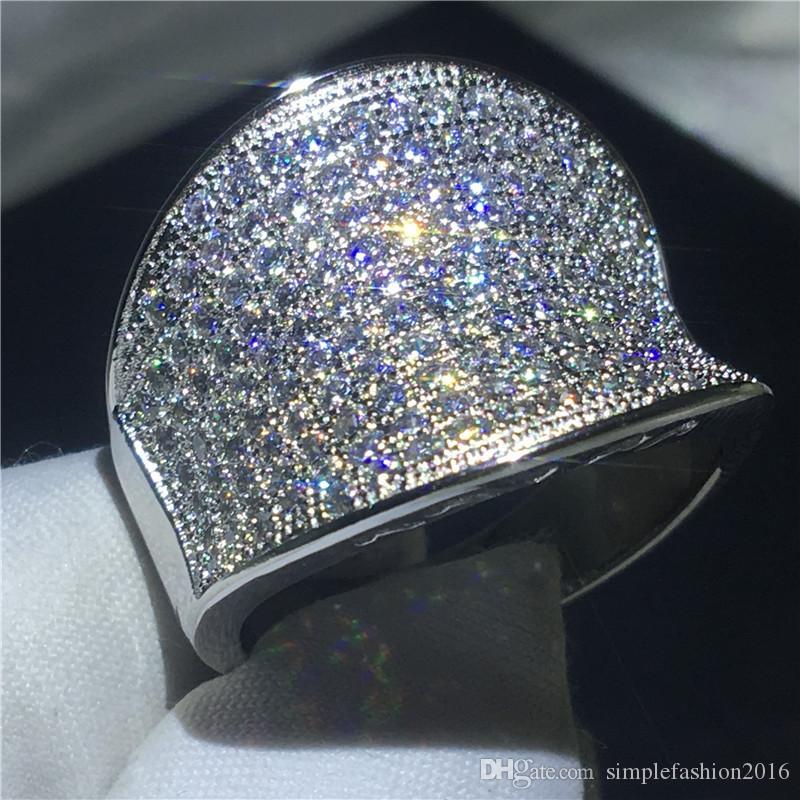 Anel grande do vintage 925 prata Pave settting 132 pcs 5A zircão cz anéis de noivado anéis de casamento para as mulheres de jóias