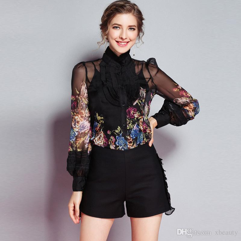 Yeni Varış 2019 kadın Ruffles Çiçek Baskılı Uzun Kollu Zarif Moda Tasarımcısı Ipek ShirtsBlouses