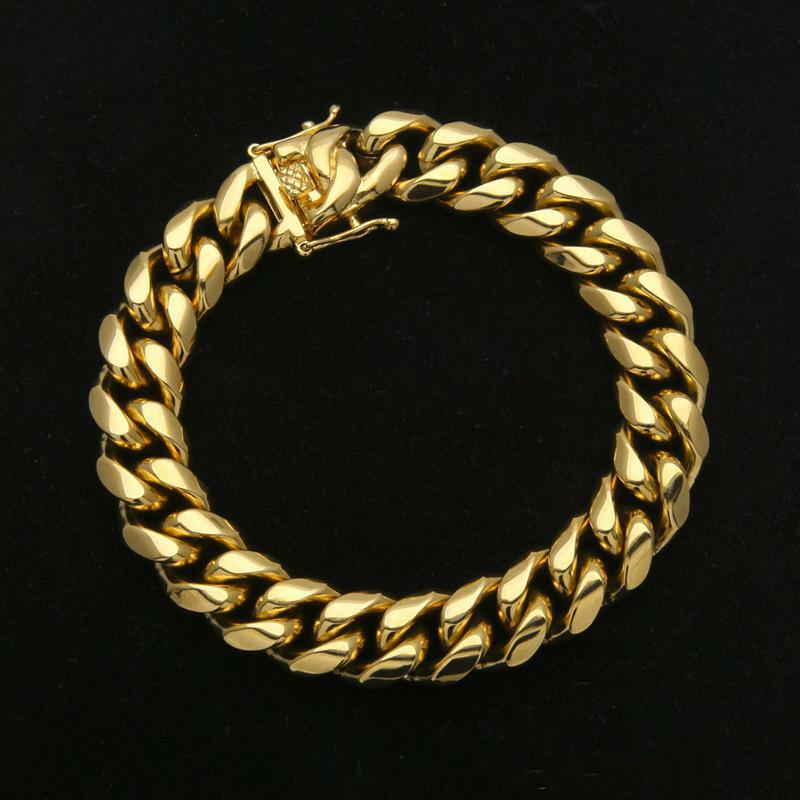Mens bracelets Stainless Steel Bracelet Link Chains Width 8mm 10mm 12mm 14mm 23cm Yellow Gold Plated Steel Cuban Bracelet For Men Hip Hop