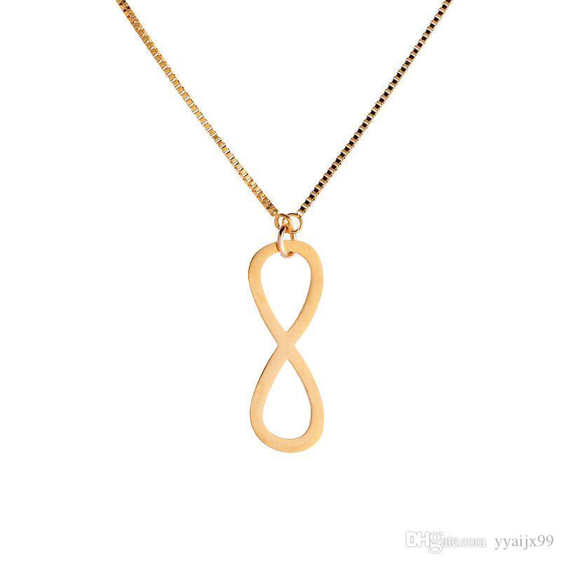 Sonsuz Aşk 8 Şekilli Kolye Kadın Erkek Paslanmaz Çelik Infinity Kolye Ücretsiz Zinciri Kadınlar Takı