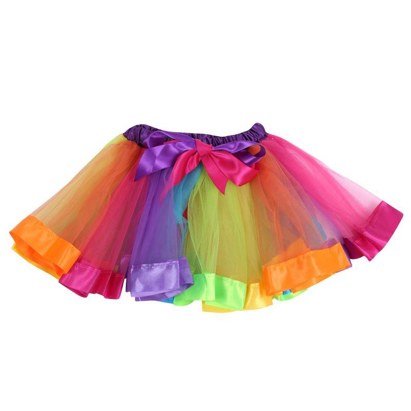 New For Baby Rainbow Lace Tulle Tutu Ribbon Skirt Dress Party Dance Wear Pettiskirt