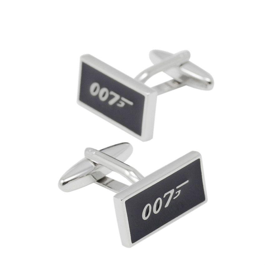 SAVOYSHI Movie 007 Logo Bottons for Mens With Box Accessories French Shirt Cuff Bottons Black Enamel Cuff Links Fashion Men Jewelry