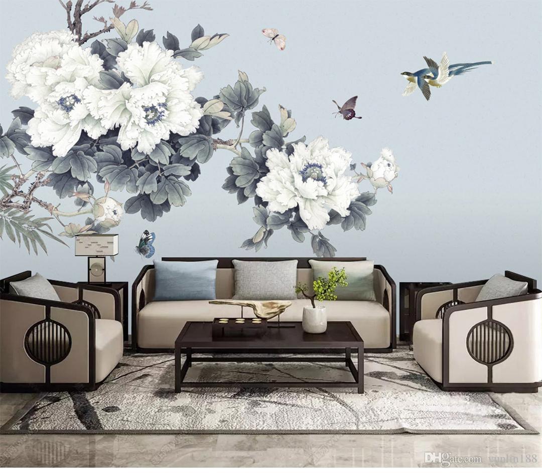 Özel Perakende Yeni El-Boyalı Kalem Şakayık Çiçek Zengin TV Arka Plan Duvar Zengin Atmosfer Kuş Kelebek Şakayık