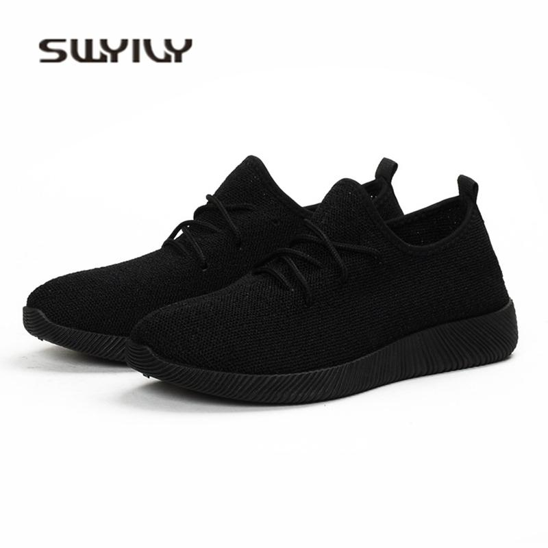 87ed7ec94dc 2019 Casual SWYIVY Women Sneakers Light Weight 2018 41 Woman Casual Shoes  Slip On Lazy Shoes Comfortable Candy Color Breathable Net Shoe Yellow Shoes  ...