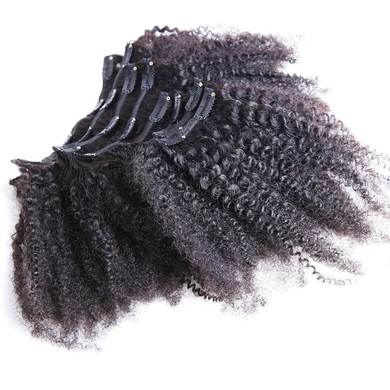8 pcs clipe americano africano em extensões de cabelo humano 100g clipe em extensões de cabelo brasileiro encaracolado natural