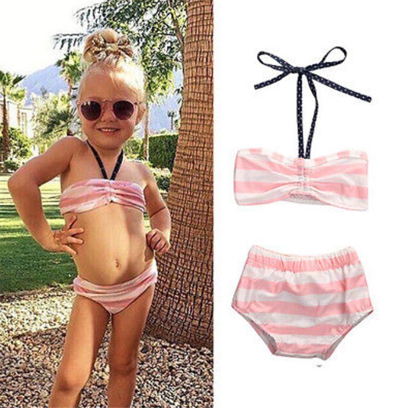 Girls Kids Swimwear Skirt Children Solid Color Letter Dress Swimsuit Pants Swim