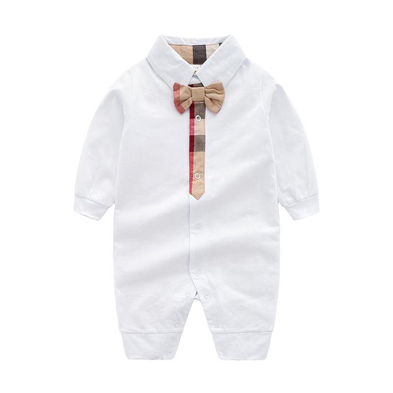 Tuta da bambino in cotone a tinta unita in cotone tinta unita Pagliaccetto a maniche lunghe in autunno a maniche lunghe per neonato
