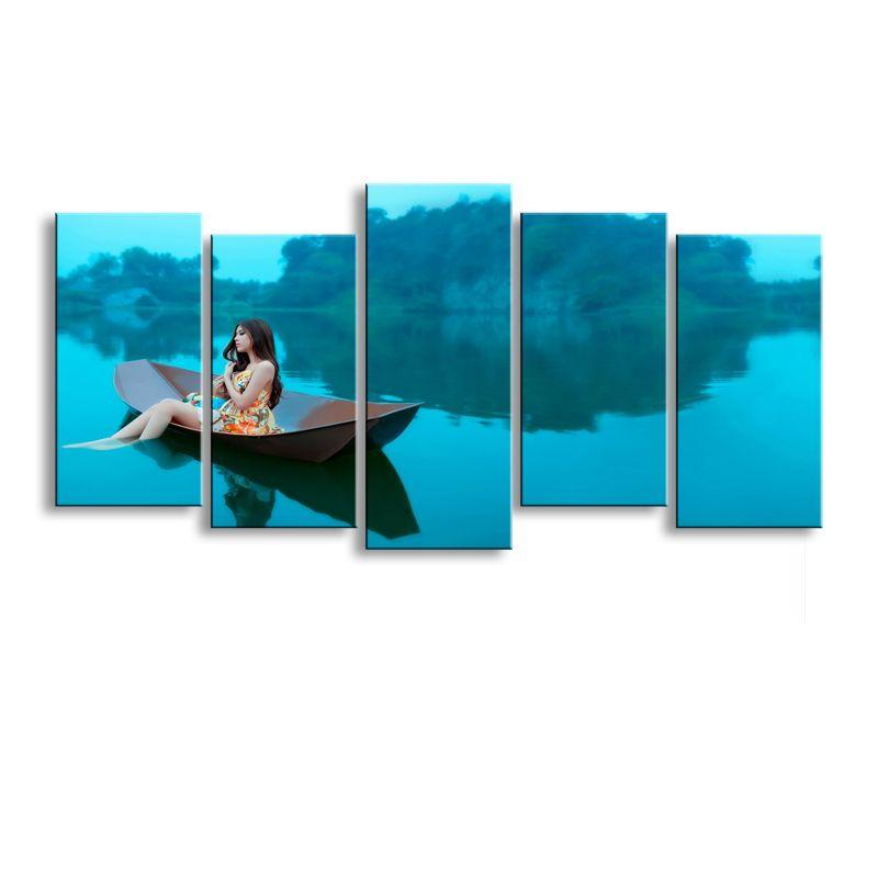 5 pezzi di stampa ad alta definizione donna sull'isola stampe su tela poster e arte parete soggiorno immagine HaiD-001