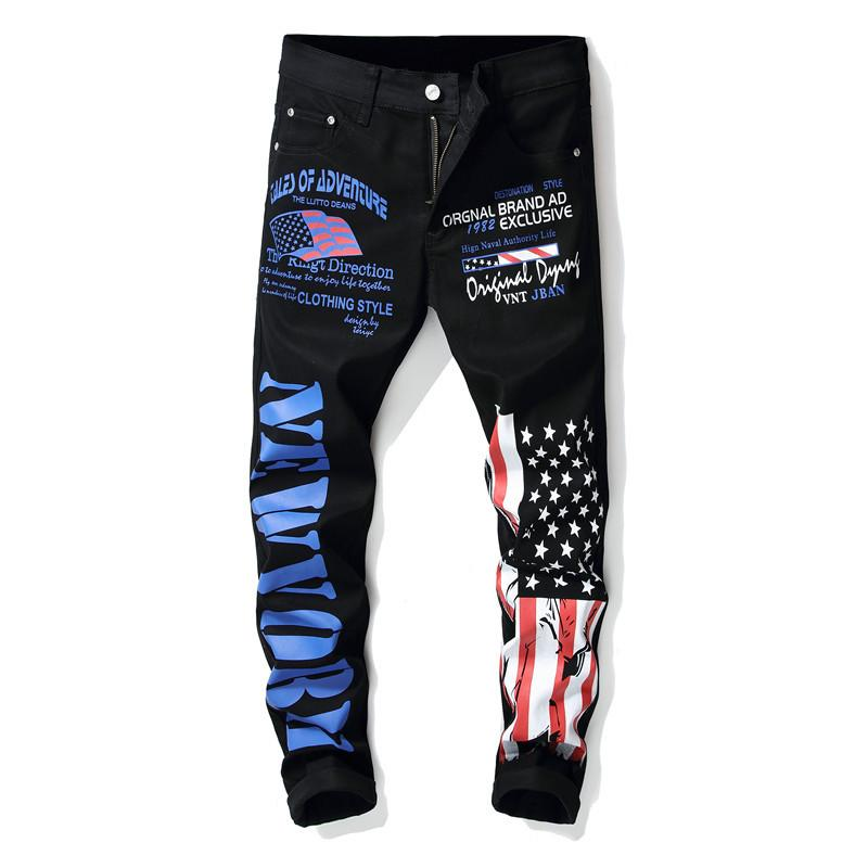 Newsosoo 2018 New Fashion Men's Flag Printed Jeans Hip Hop Men Pencil Pants Trousers For Streetwear Nightclub