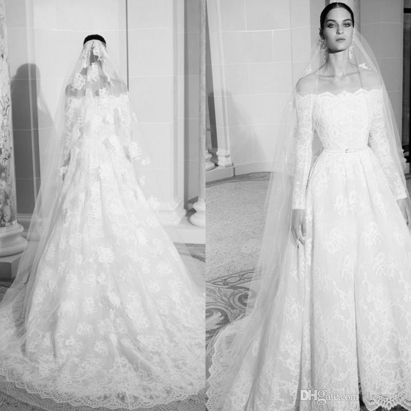 Elie Saab 2019 Country Wedding Dresses Off Shoulder Lace Appliques Long Sleeves Sweep Train Beach Wedding Dress Custom Made Bridal Gowns