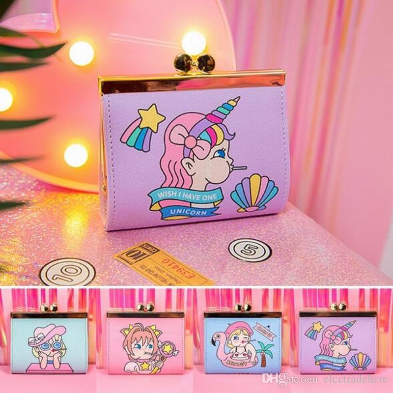 Brand Cartoon Girls Clutch Money Purse Leather Short Women Wallet Frame Hasp Purse Flamingo Coin Purse Credit Card Holder