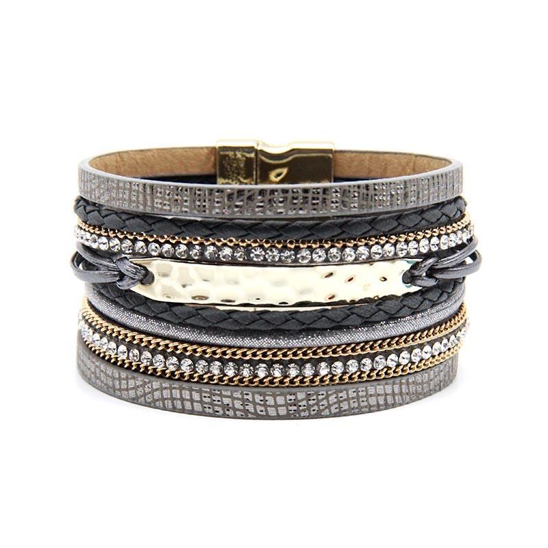 Ganzes Salezg Neu ankommt Modeschmuck grau und kahki farbe frauen armband mit gold magnetisch armband