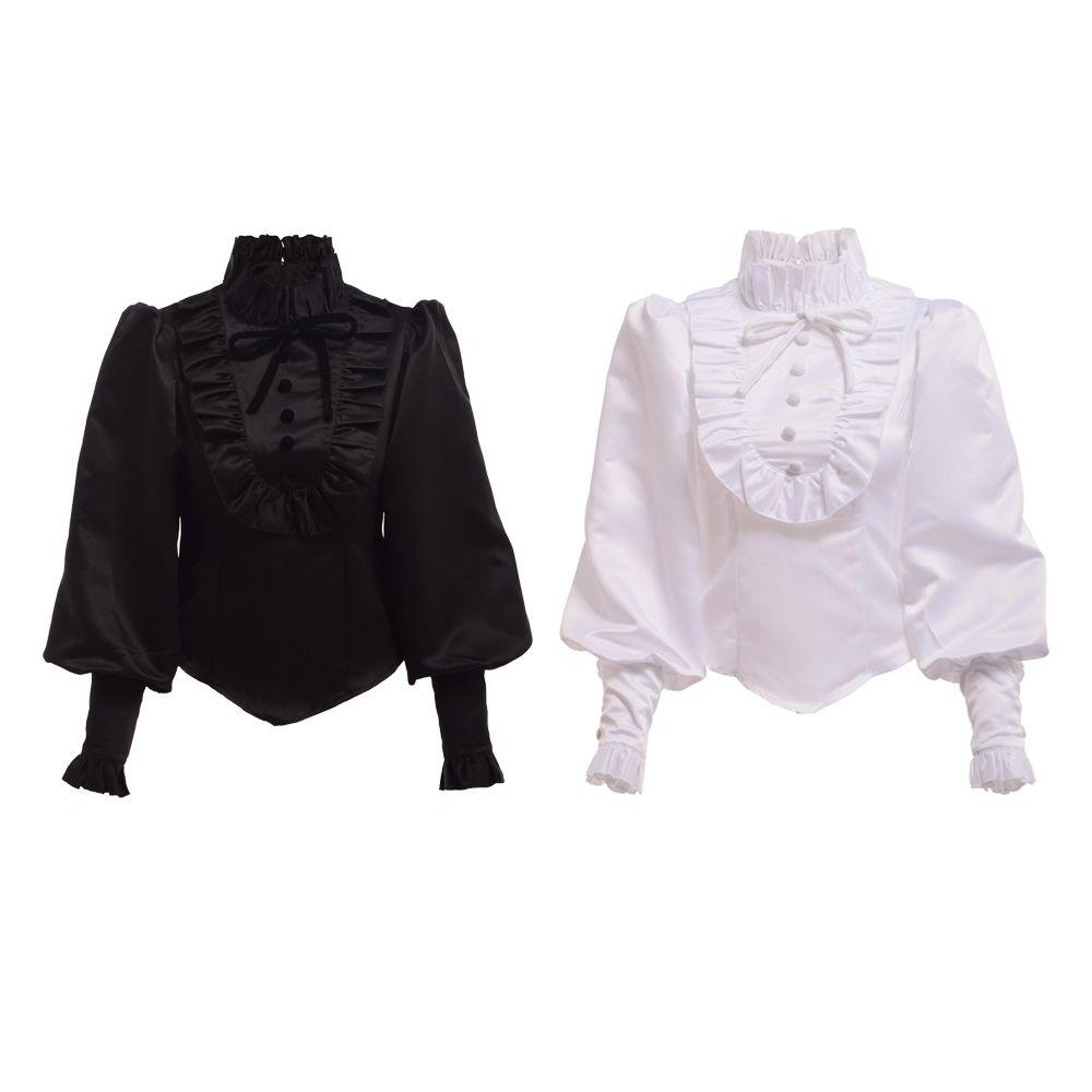 Camicia romantica di alta qualità vintage vittoriana nera camicetta in stile lolita. Tops Reenactment per le donne
