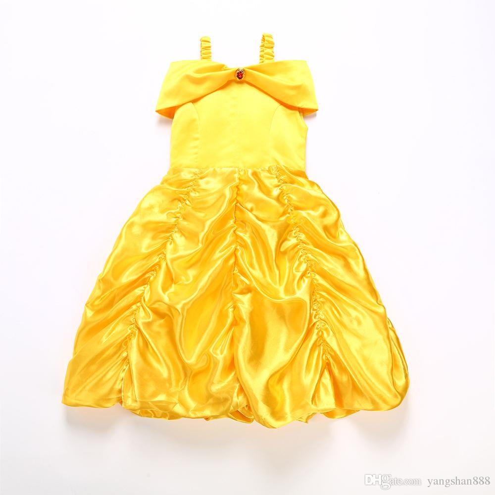 2018 yeni kız prenses giyinmek kostüm çocuklar kolsuz sarı abiye çocuk kız karnaval Noel doğum günü top elbise toptan