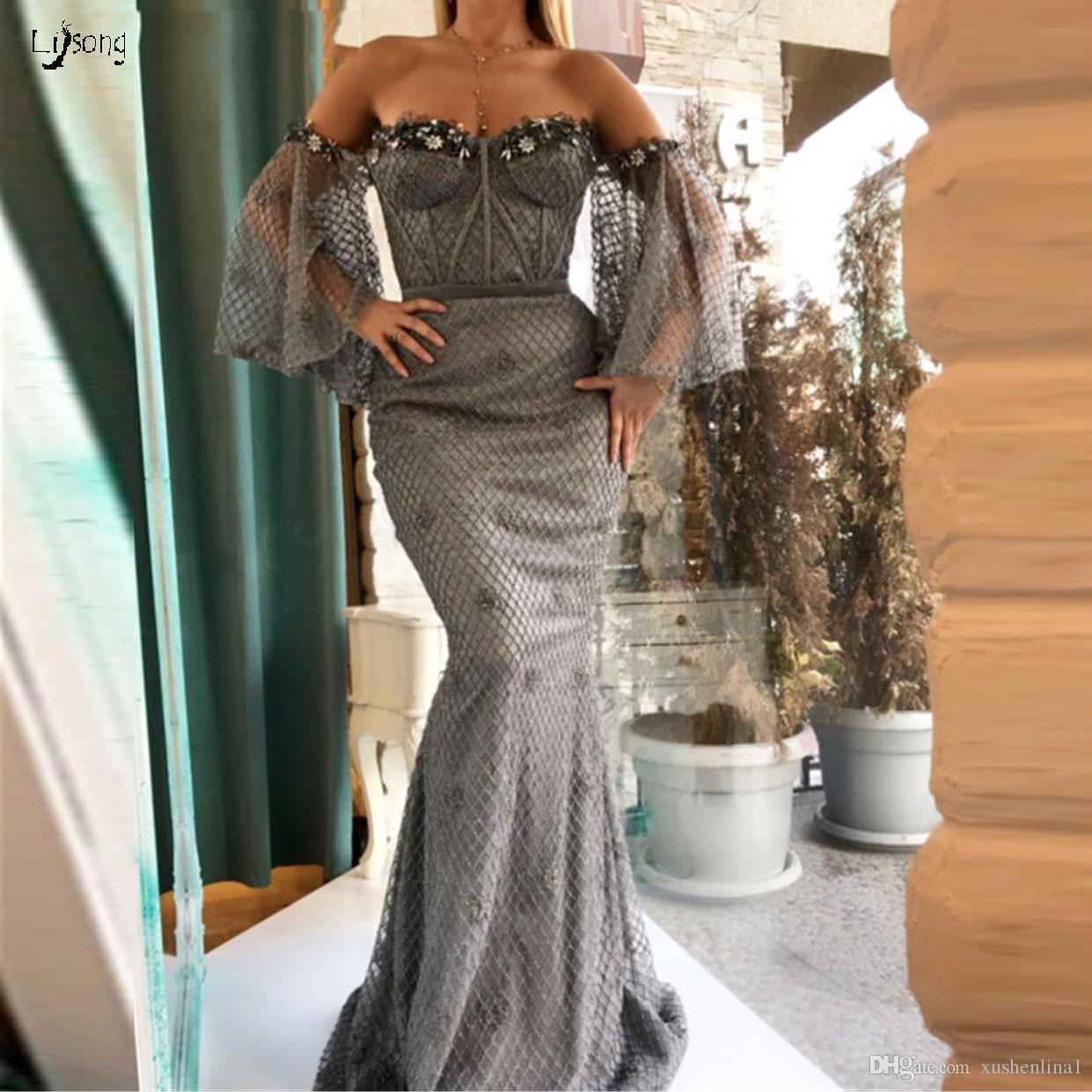 Exquisite Gray Crystal South African Aso-Ebi Evening Dress Arabian Prom Dresses Maxi Gowns High Quality Custom Made Off Shoulder Party Dress