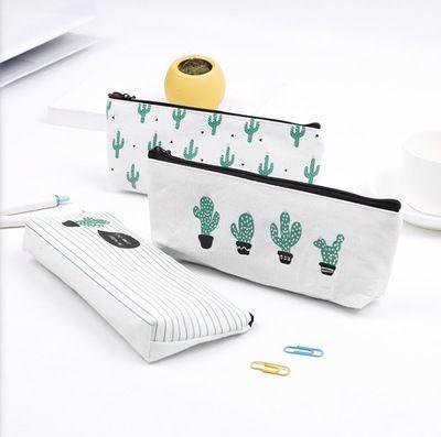 Kaktüs kalem çantası Pastoral Bandaj Tuval Kalem Kutusu bitki Makyaj Çantası Fermuar Kozmetik Kılıfı 21 * 9 cm