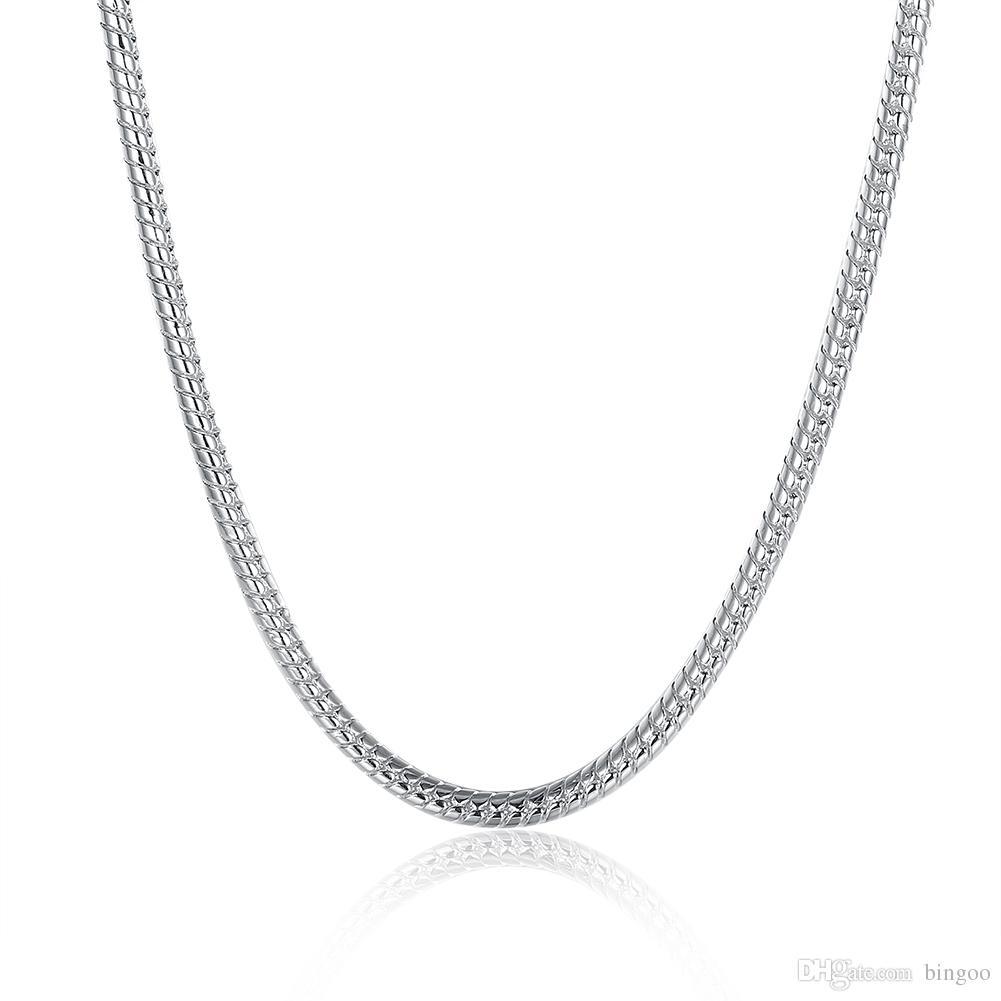 Moda Takı Erkek / Bayan Yuvarlak Yılan Zinciri için% 100 Paslanmaz Çelik Kolye 3 mm 18/20/22/24/28 İnç Fit Pandora