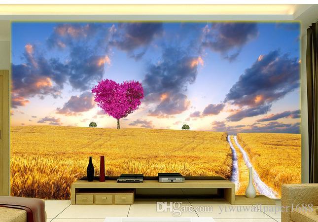Фото на заказ любого размера 3D обои на заказ Любого размера Обои MuralDreamy пшеничное поле красивые пейзажи ТВ фоне стены