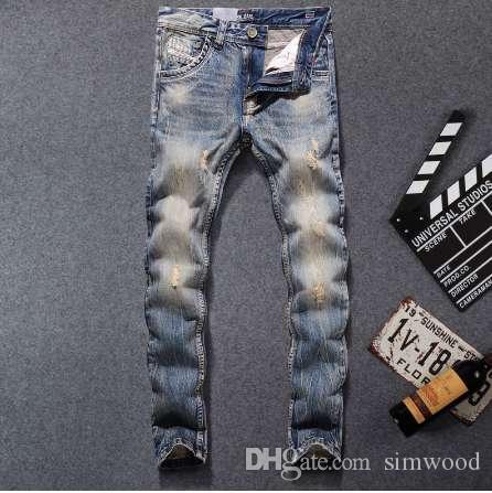 Nouveau mode Dsel Designer jeans hommes célèbre marque déchiré jeans denim coton Jeans hommes occasionnels pantalons imprimés, 708-b