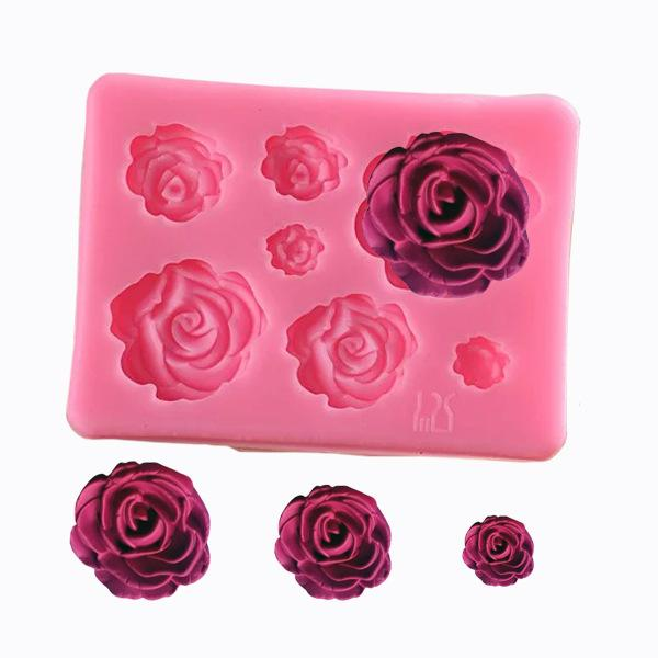 Large, medium and small 7 even 3D Rose Flower Cake Decoration silicone Mould DIY handmade soap Chocolate turning Sugar Baking tool