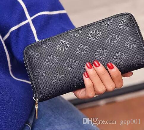 ¡Envío gratis! Wallet de cuero genuino embrague en relieve de diseño de moda con caja 60015 60017