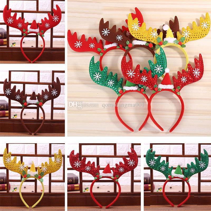 Boże Narodzenie Reindeer Deer Opaski Dekoracje Zespoły Do Włosów Czerwony Snowflake Pałąk Pałąk Wakacyjny Party Birthday Party Supplies