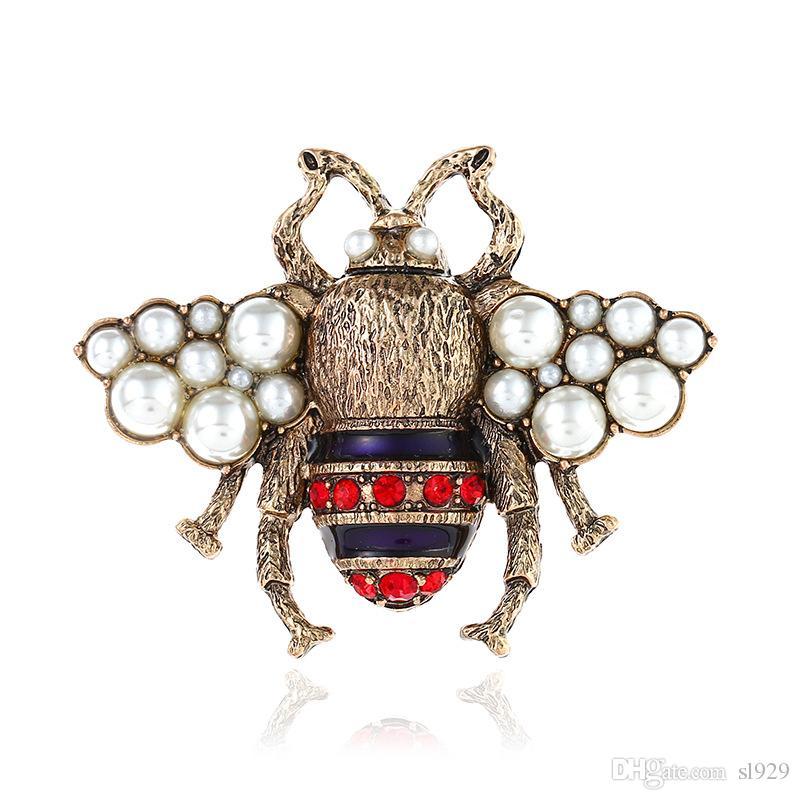 أوروبا والولايات المتحدة الجديدة النحل بروش أزياء ريترو الراين البرونزية القديمة شعبية نماذج انفجار بروش الراقية بالجملة