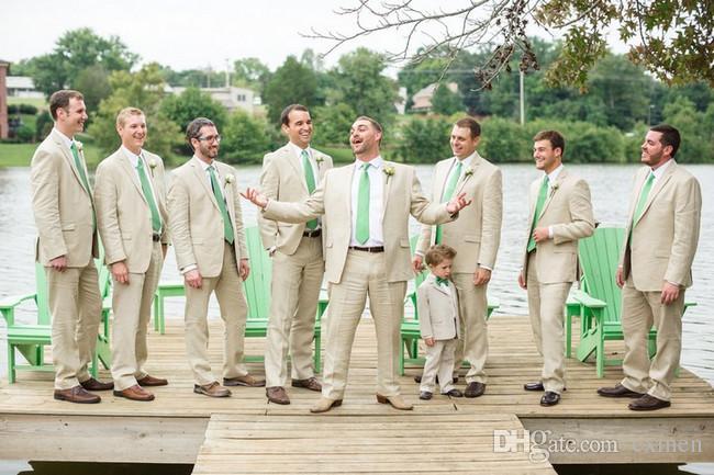 Beige Linen Men Suits Wedding Summer Beach Custom Made Tuxedos Best Men Blazer Casual Groom Wear Formal Groomsmen Prom 2 Piece Jacket+Pants