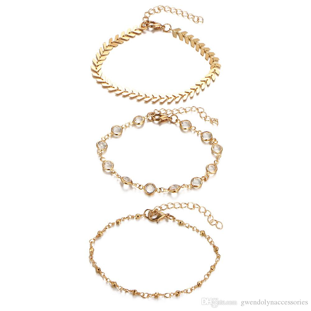 Рождественский подарок для девушки мода Кристалл ножной браслет набор старинные ручной лодыжки браслет для женщин партии летние пляжные аксессуары 3 шт. / компл. BJ503