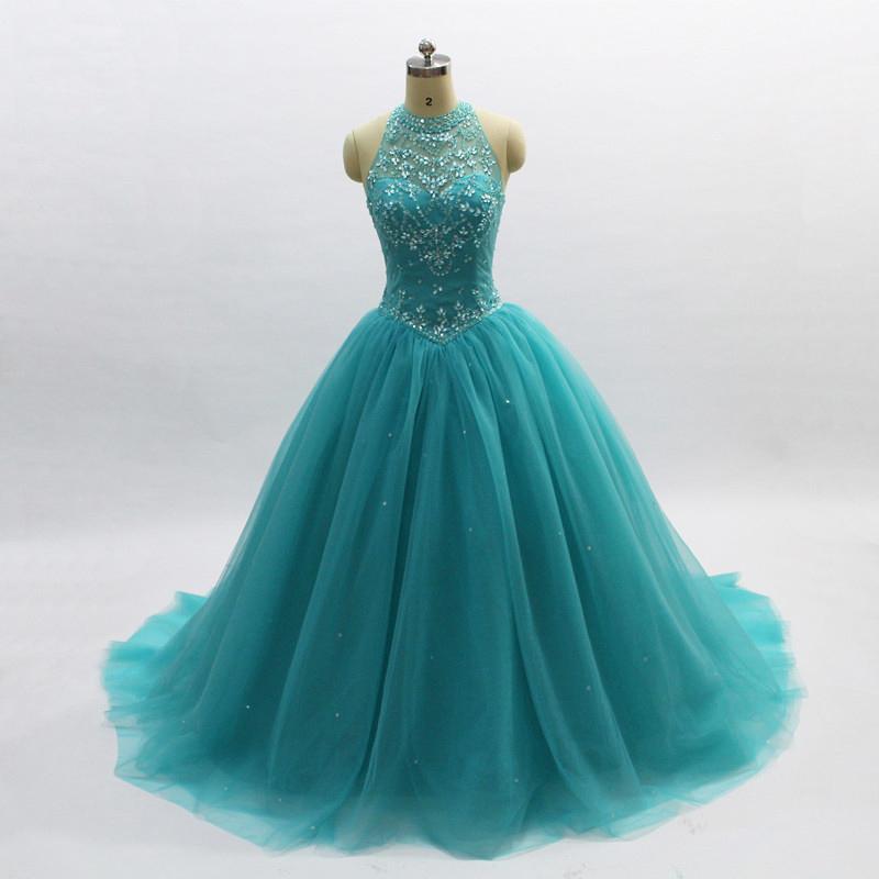 Principessa Quinceanera 2020 Turchese in rilievo di cristallo di Tulle Sweet 16 Dresses 15 anni di sfera delle debuttanti Masquerade Gowns