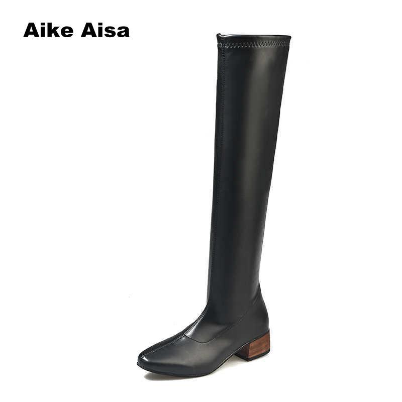 903b1d4a66868 2018 Thigh High Boots Female Winter Boots Women Over The Knee Low Heel  Stretch Sexy Fashion Women Shoes Botas Mujer