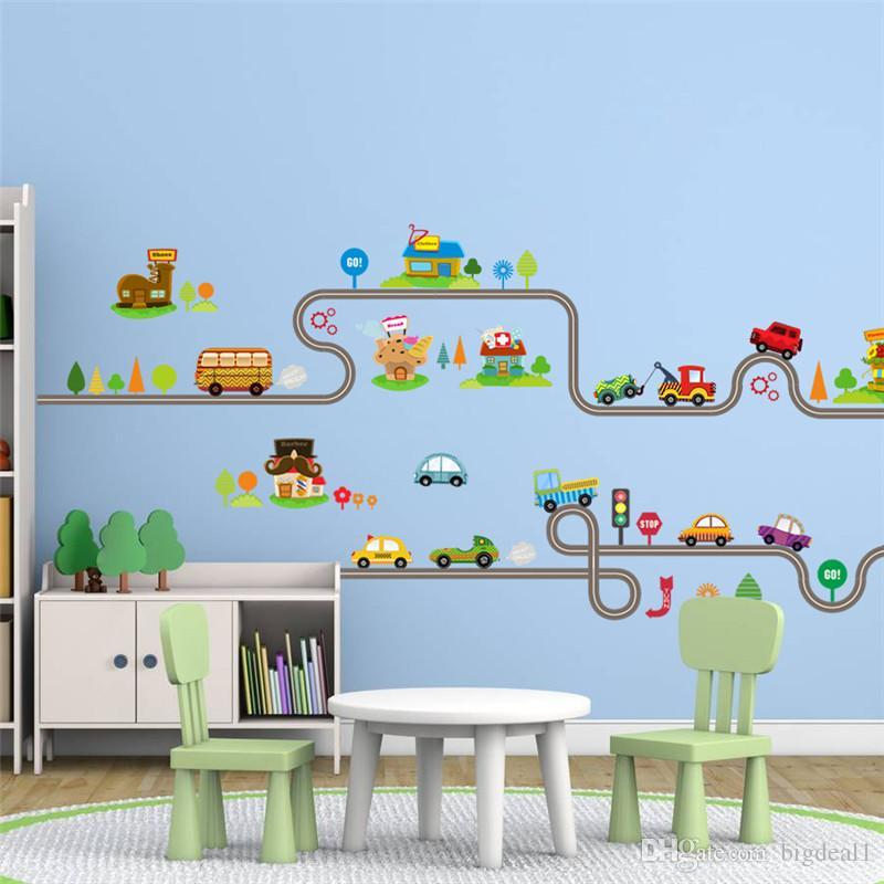 Cartoon Car Bus Highway Track Wall Stickers For Kids Rooms Children\'S  Bedroom Living Room Decor Wall Art Decals Boy\'S Gift Childrens Removable  Wall ...