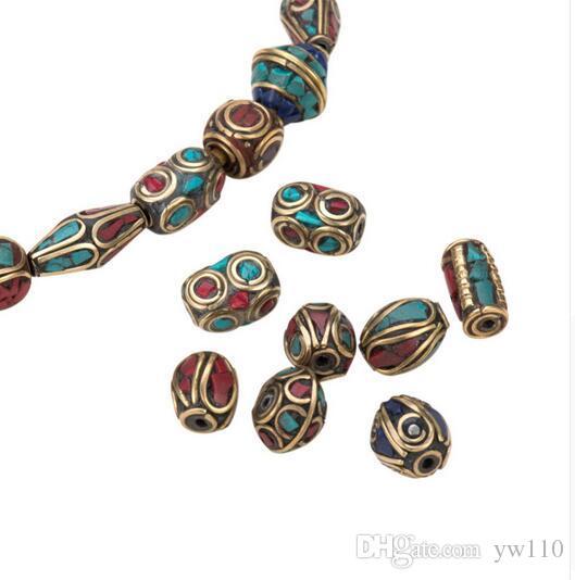 Prière Rétro Népal Perles À La Main Rouge Corail Tibétain Perles Lâches Charms pour Faire Des Bijoux Bricolage Trou: 1 ~ 1.5mm Livraison Gratuite