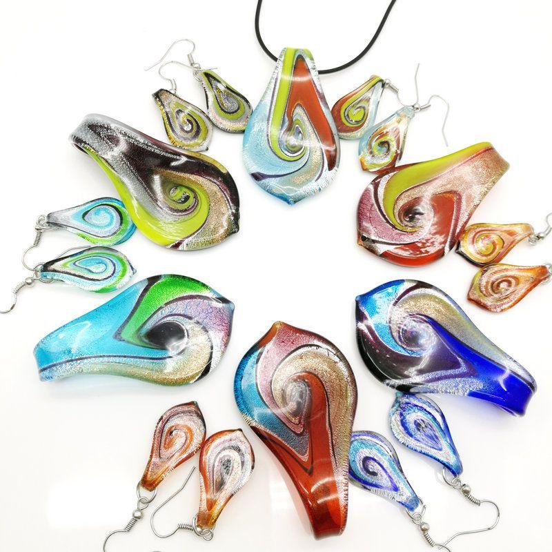الأزياء 6set زجاج مورانو ليف تويست قلادة أقراط مجموعة مجوهرات شحن مجاني