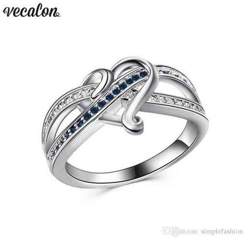 Vecalon 4 kolory kształt serca pierścień srebrny kolor kryształowy CZ zaręczynowy zespół ślubny pierścień dla kobiet Dropshipping biżuteria
