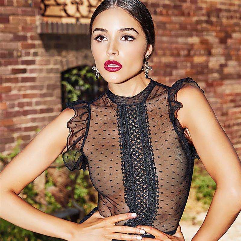 Sexy Do Vintage Mulheres Lace Malha Bodysuit Applique Sheer Dot Ver Através de Verão Sem Mangas Sólida Preto Casual Elegante Das Senhoras Bodysuit