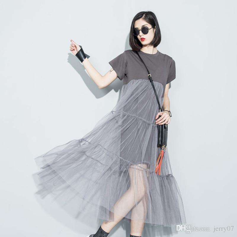 2018 été nouvelle mode couture couture perspective de fil net couleur unie O- manches courtes lâche dress femme gros 3361