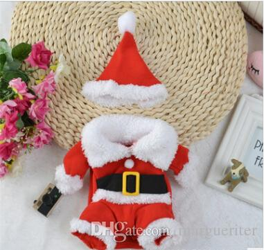Christmas Pet Dog Costumes Christmas Dog Standing Make up Clothes Dog Cat Santa Cosplay Coats With Christmas Hat