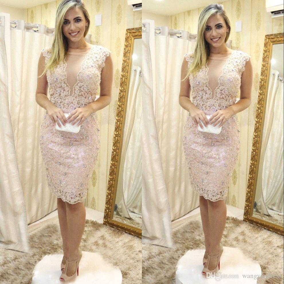 Elegancka koronkowa długość kolana Matka panny młodej Suknie Shining Crystal Krótki formalny koktajl suknia balowa