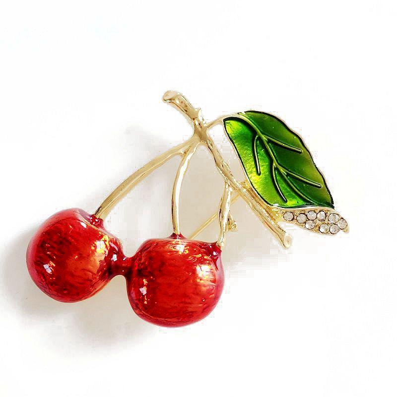 Frete Grátis Novo Doce Vermelho Cereja Pedra De Cristal Elegante Broches Esmalte Jóias, Moda Bonito Broche de Presente
