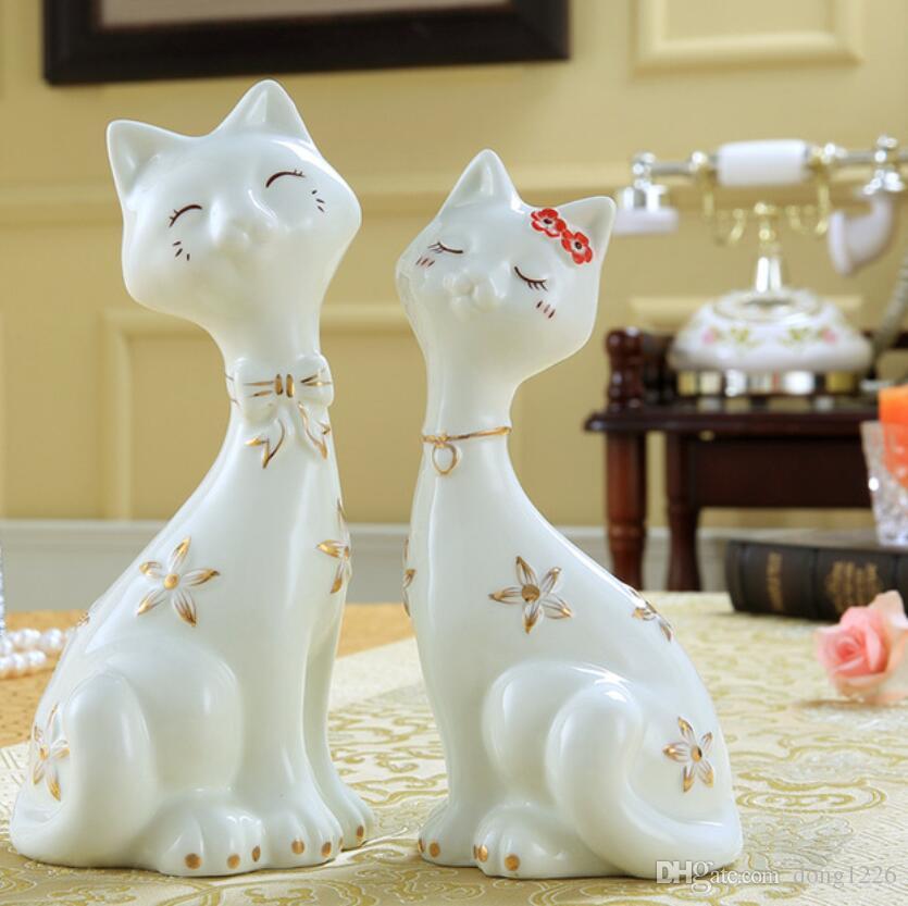 maneki neko home decor gatto artigianato decorazione della stanza ceramica ornamento porcellana figurine animali fortuna gatto creativo regali di nozze